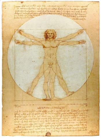 Leonardo da Vinci is famous for his illustration of the man inside the sphere. Part of the reason it is so often referenced is that it depects an approximation of the human lumonous field